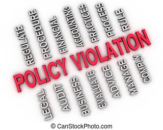 3d image Policy Violation issues concept word cloud...