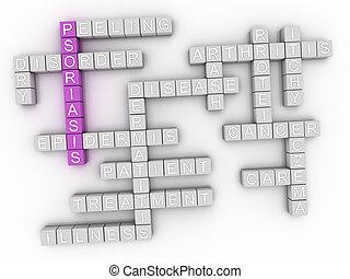 3d image Psoriasis concept word cloud background