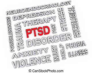 3d image PTSD - Posttraumatic Stress Disorder issues concept wor