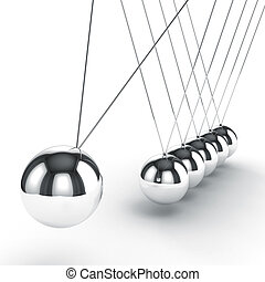 3d image render of newton's cradle on white background