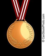 3d image, shiny bronze medal