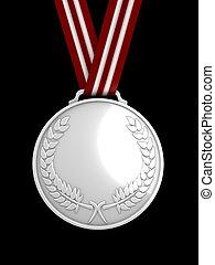 3d image, shinysilver medal
