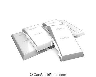 3d image, Silver bars, isoolated bg