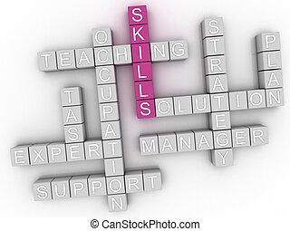 3d image Skills word cloud concept