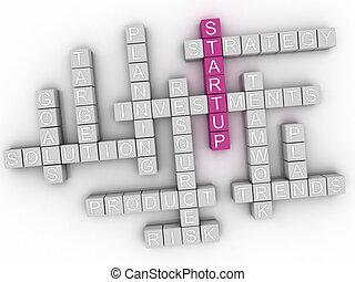 3d image Startup word cloud concept