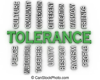 3d image Tolerance issues concept word cloud background