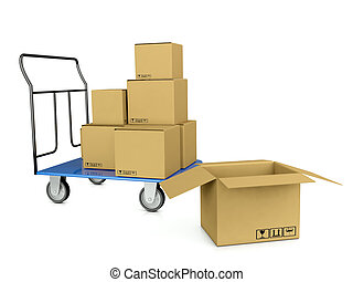 3d image trolley with boxes symbolizing bystrtsyu shipping and warehouse on a white background