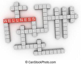 3d image Wellness word cloud concept