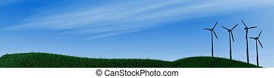 3d image, wide landscape panorama with wind turbine
