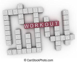 3d image Workout word cloud concept