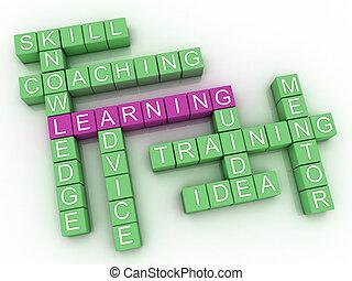 3d, imagem, aprendizagem, edições, conceito, palavra, nuvem, fundo
