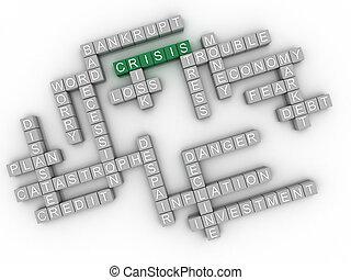 3d, imagem, crise, edições, conceito, palavra, nuvem, fundo