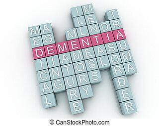 3d, imagem, demência, edições, conceito, palavra, nuvem,...