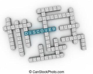 3d, imagem, descobrir, edições, conceito, palavra, nuvem, fundo