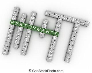 3d, imagem, desempenho, edições, conceito, palavra, nuvem, fundo