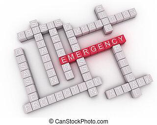 3d, imagem, emergência, edições, conceito, palavra, nuvem,...