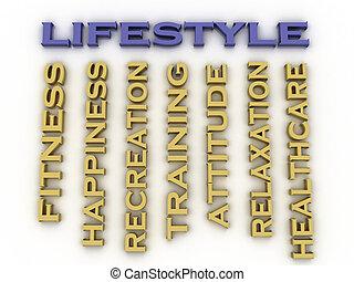 3d, imagem, estilo vida, edições, conceito, palavra, nuvem, fundo