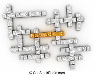 3d, imagem, narcótico, palavra, nuvem, conceito