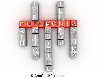 3d, imagem, pneumonia, edições, conceito, palavra, nuvem, fundo