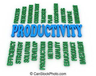 3d, imagem, produtividade, conceito, palavra, nuvem, fundo