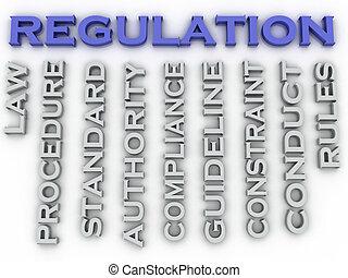 3d, imagem, regulamento, edições, conceito, palavra, nuvem, fundo