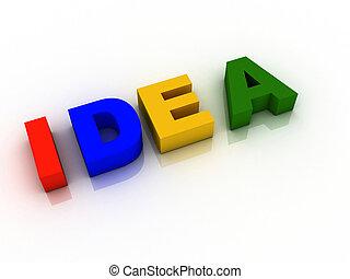 3d imagen about word Idea