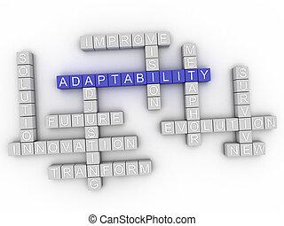 3d, imagen, adaptability, palabra, nube, concepto