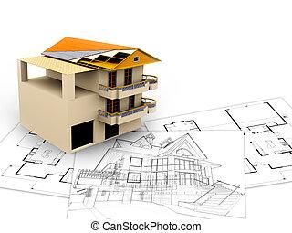 3d, imagen, arquitetura, conceito