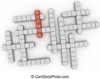 3d, imagen, asma, palabra, nube, concepto