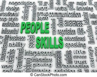 3d imagen, background concept wordcloud illustration of people skills