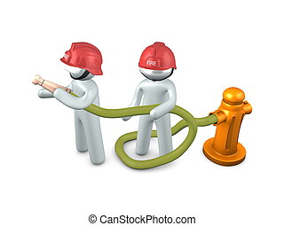 3d, imagen, bombero, en acción