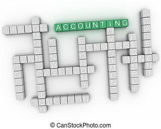 3d, imagen, contabilidad, palabra, nube, concepto