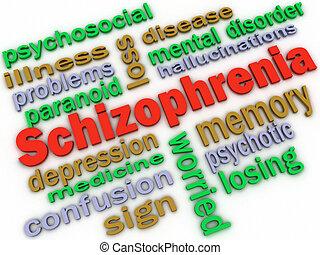 3d, imagen, esquizofrenia, concepto, palabra, nube, plano de...