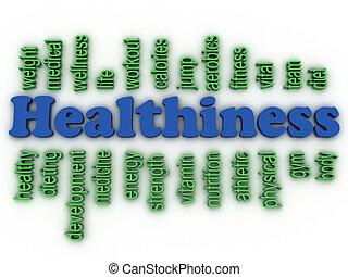 3d imagen Healthiness concept word cloud background