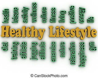 3d imagen healthy lifestyle issues concept word cloud background