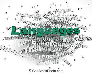 3d, imagen, idiomas, de, el mundo, asuntos, concepto, palabra, nube, plano de fondo