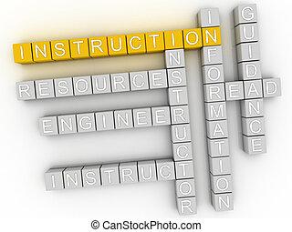 3d, imagen, instrucción, palabra, nube, concepto