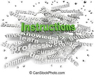 3d, imagen, instrucciones, palabra, nube, concepto