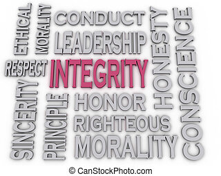 3d imagen Integrity concept word cloud background