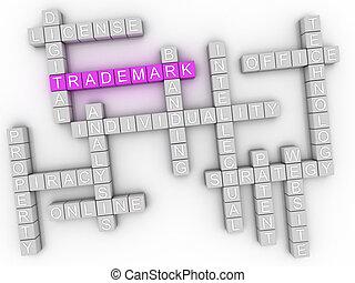 3d, imagen, marca registrada, palabra, nube, concepto