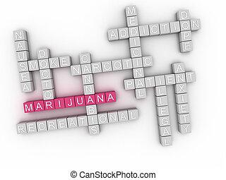 3d, imagen, marijuana, palabra, nube, concepto