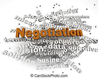 3d, imagen, negociación, asuntos, concepto, palabra, nube, plano de fondo