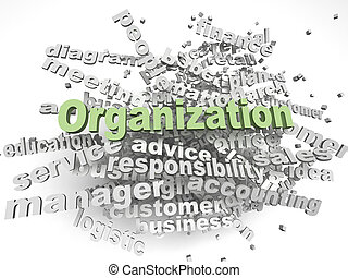 3d imagen Organization  issues concept word cloud background
