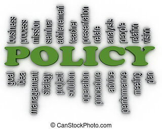 3d imagen policy concept word cloud background
