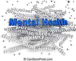 3d, imagen, salud mental, palabra, nube, concepto