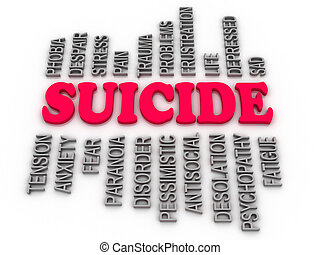 3d, imagen, suicidio, concepto