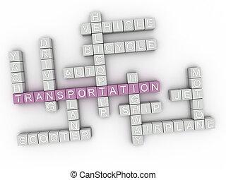 3d, imagen, transporte, palabra, nube, concepto