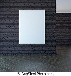 3d, immagine, parete bianco, interpretazione