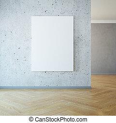 3d, immagine, vuoto, interpretazione, parete