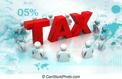 3d, impôt, render, gens